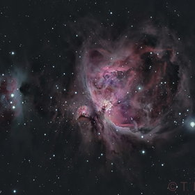 Running Man and Great Orion Nebula in Ha+LRGB